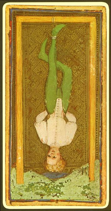 El colgado en la baraja Visconti-Sforza