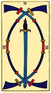 Tres de espadas, invertido.