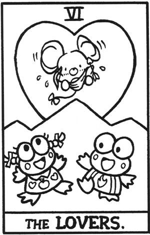 La carta de los enamorados en el Tarot de Hello Kitty